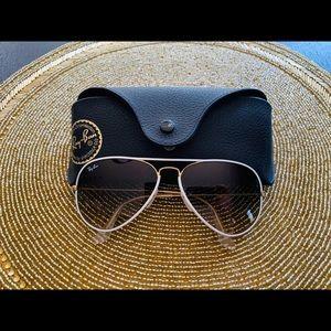 Ray-Ban white and gold aviator sunglasses